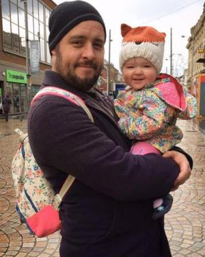 Ashley Russell with his daughter before his brain tumour diagnosis