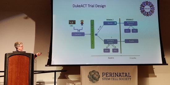 Dr. Kurtzberg presenting Duke's ACT trial at Perinatal Stem Cell Society meeting March 2020