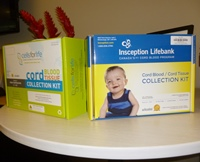 collection kits from Cell Care brands in Canada: Cells For Life (left) and Insception Lifebank (right)