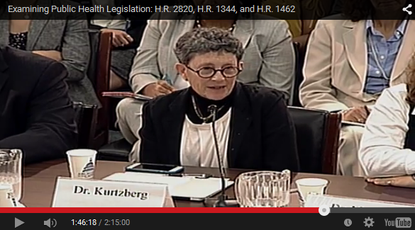 Dr. Joanne Kurtzberg testifying in Congress June 2015