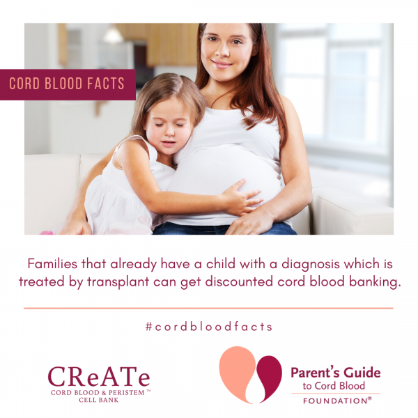 Families that already have a child with a diagnosis which is treated by transplant can get discounted cord blood banking