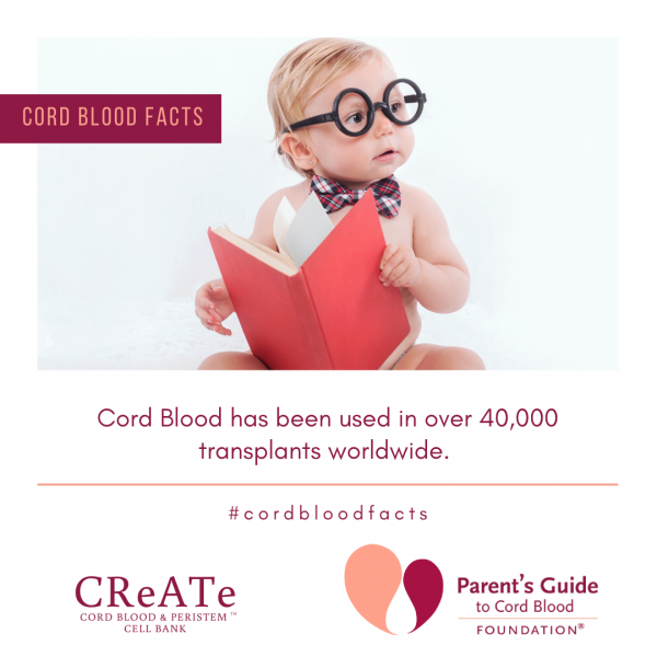 Cord Blood has been used in over 40,000 transplants worldwide